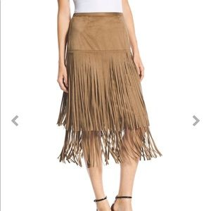 New w Tag Chico's Faux suede Fringe Skirt sZ 8